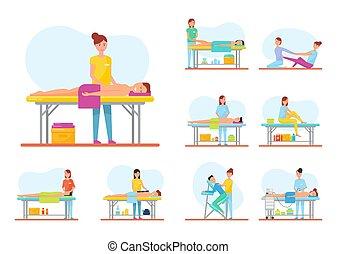 músculos, relaxante, estiramento, vetorial, tratamento, massagem