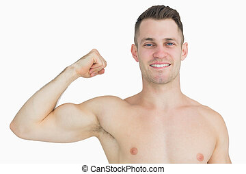 músculos, shirtless, jovem, flexionar, retrato, homem