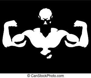 músculos, vector, hombre