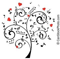música, árbol, con, corazones, y, notas
