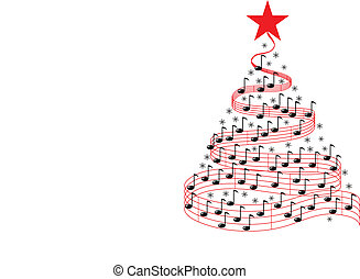 música, árbol, navidad