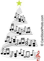 música, árvore, natal