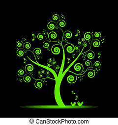 música, árvore
