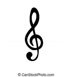 música, ícone, clef, pretas, triplo, silueta