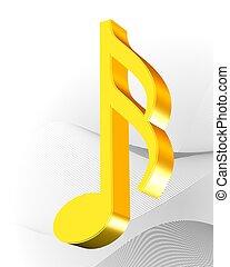 música, ícone, dourado