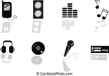 música, ícone, equipamento, abstratos