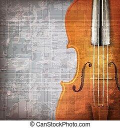 música, abstratos, grunge, fundo, violino