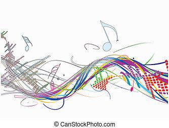 música, abstratos, linha, onda