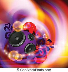 música, abstratos, orador, redondo, fundo