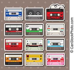 música, adesivos, fitas