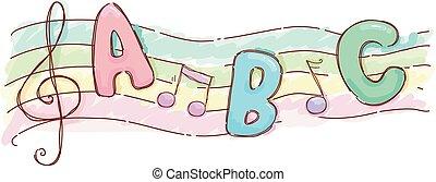 música, alfabeto, folha, ilustração, canção