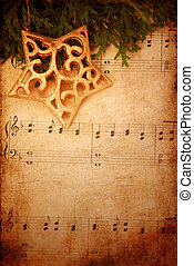 música, antigas, natal, fundo, folha