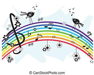 música, arco íris