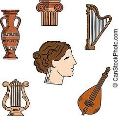 música, arquitetura, Grécia, arte, ícones