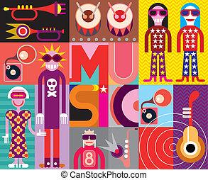 música, -, arte pnf, vetorial, ilustração