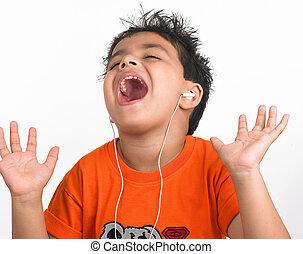 música, asiático, escutar, criança