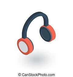 música, auriculares, isométrico, plano, icon., 3d, vector
