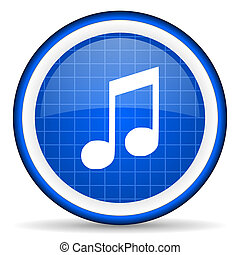 música, azul, brillante, icono, blanco, plano de fondo