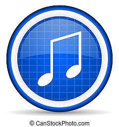 música, azul, lustroso, ícone, branco, fundo