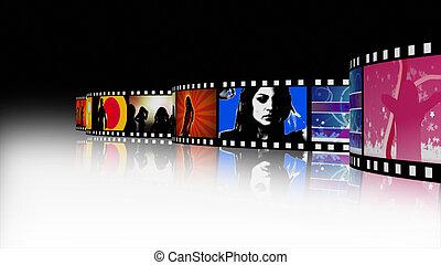 música, baile, carrete de película