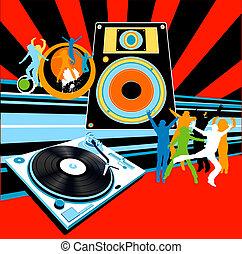 música, baile, plano de fondo