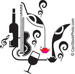 música, bebida, partido