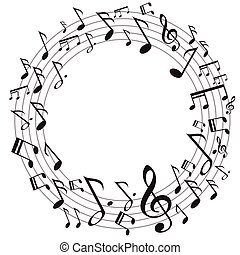 música, círculo, notas
