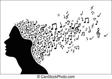 música, cabeça, mulher, silueta, não