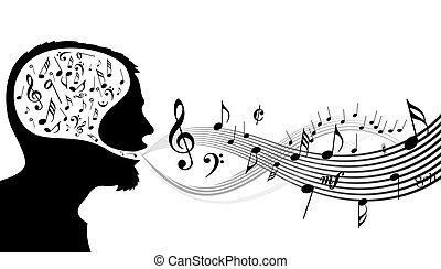 música, cabeça, tema, -, cantor