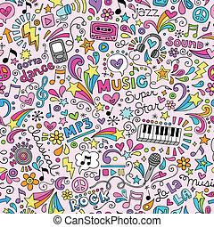 música, caderno, doodles, padrão