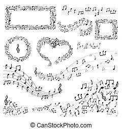 música, canção, bordas, ou, nota, melodia, decoração, arte