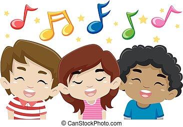 música, cantando, crianças, notas