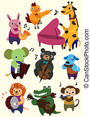 música, caricatura, animal, icono