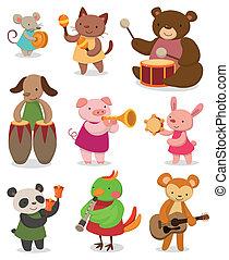 música, caricatura, animal, tocando
