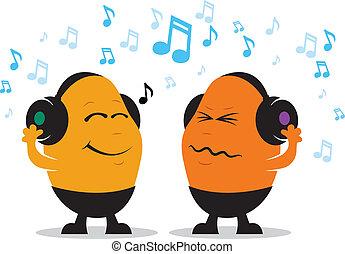 música, caricatura, auricular
