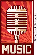 música, cartaz, (microphone)