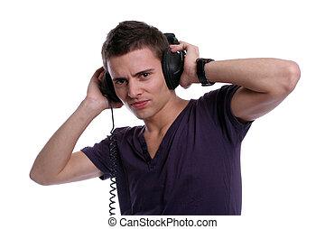 música, casual, escutar, homem