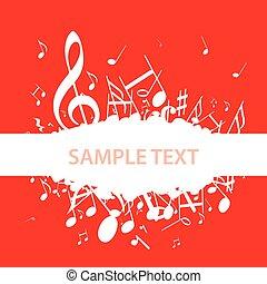 música, clef, notas