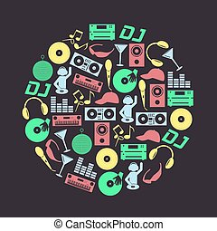 música, club, dj, color, iconos, conjunto, en, círculo, eps10