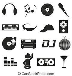 música, clube, dj, pretas, ícones simples, jogo, eps10
