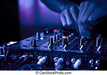 música, clube noite, dj