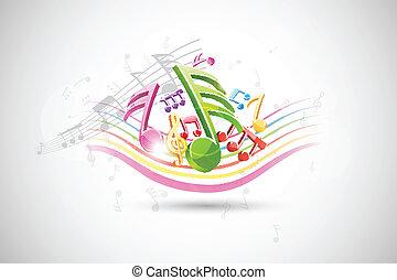 música, colorido, plano de fondo