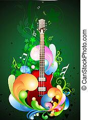 música, coloridos, cartão