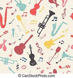 música, coloridos, pattern., seamless