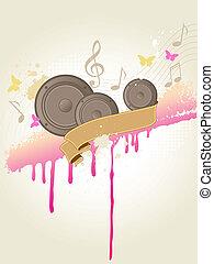 música, colunas, fundo