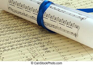 música, composição, closeup