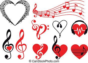 música, corazones, vector