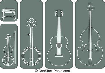 música country, instrumentos