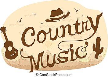 música country, tipografía