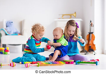 música, crianças, crianças, instrumentos